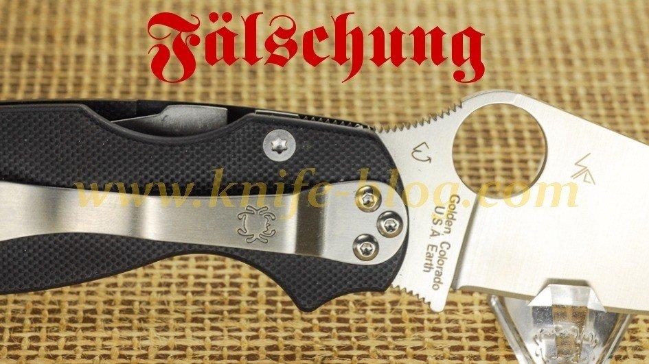 Gefälschte Spyderco Messer: Para Military Fake
