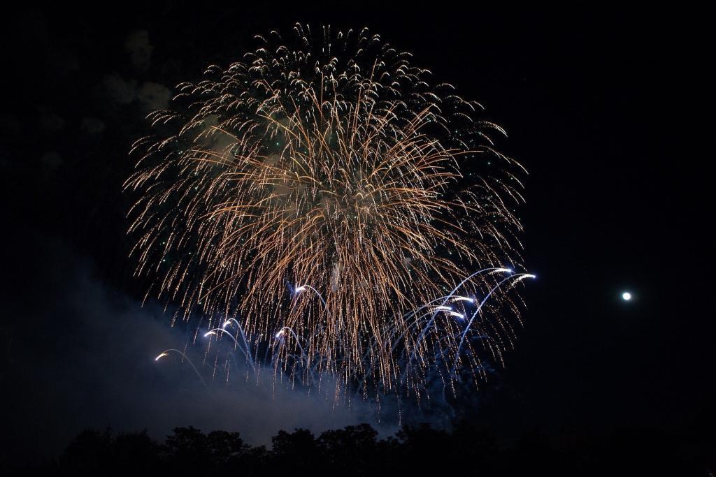 Farbeffekte durch Titan bei Feuerwerk