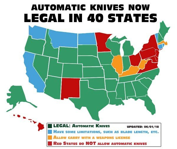 USA Reisen: Map legal carry Auto Knives