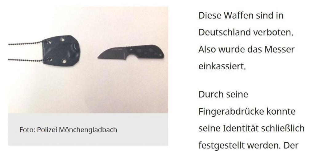 Von der Polizei in NRW zu Unrecht sichergestelltes Neck Knife