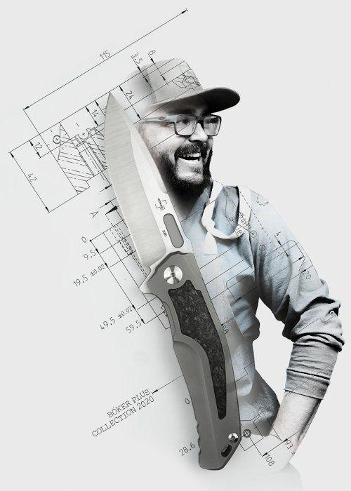 Lucas Burnley mit dem von ihm gezeichneten Böker Plus Collection Knife