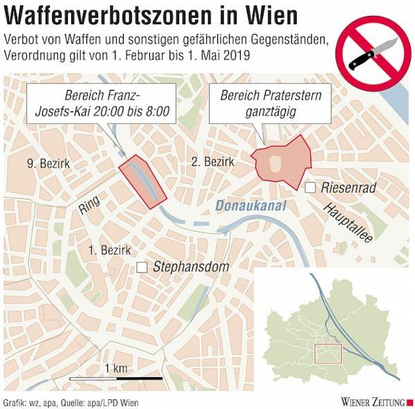 Waffengesetz Österreich - Waffenverbotszonen in Wien